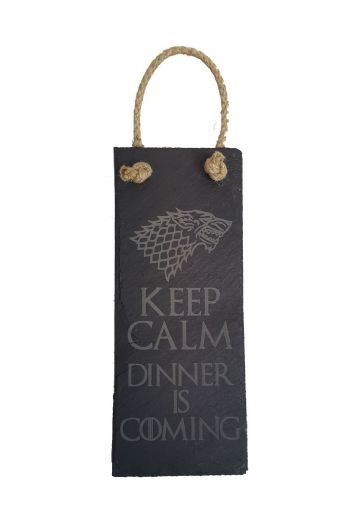 "Game of Thrones Inspired ""Dinner is Coming"" Hanging Slate Plaque"